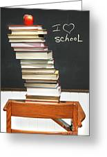 Stack Of Books On An Old School Desk Greeting Card by Sandra Cunningham