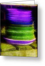 Stack Of Saucers Greeting Card by Judi Bagwell