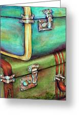 Stacked Vintage Luggage Greeting Card by Winona Steunenberg
