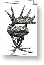 Stag Antlers Chair Greeting Card by Lee-Ann Adendorff