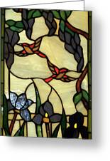 Stained Glass Humming Bird Vertical Window Greeting Card by Thomas Woolworth