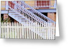 Stairs And White Picket Fence Greeting Card by Jeremy Woodhouse