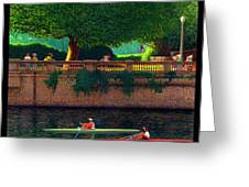 Stanley Park Scullers Poster Greeting Card by Neil Woodward