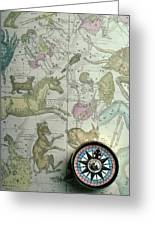 Star Map And Compass Greeting Card by Garry Gay