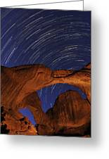 Star Trails Over Double Arch Greeting Card by Craig Ratcliffe