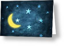 Stars And Moon Drawing With Chalk Greeting Card by Setsiri Silapasuwanchai