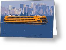 Staten Island Ferry Color 16 Greeting Card by Scott Kelley