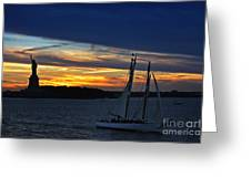 Statue Of Liberty At Sunset Greeting Card by Nishanth Gopinathan