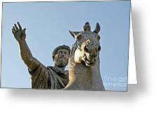 Statue Of Marcus Aurelius On Capitoline Hill Rome Lazio Italy Greeting Card by Bernard Jaubert