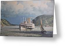 Steamboats on Newburgh Bay William G Muller Greeting Card by Jake Hartz