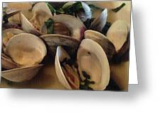 Steamed Clams Greeting Card by Joan Meyland