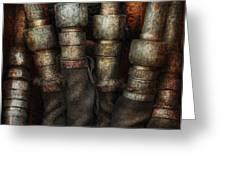 Steampunk - Pipes Greeting Card by Mike Savad