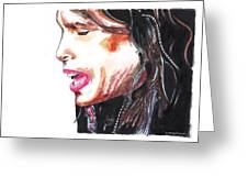 Steven Tyler Greeting Card by Nancy Mergybrower