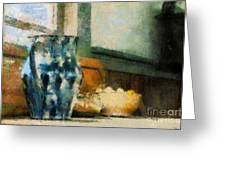 Still Life With Blue Jug Greeting Card by Lois Bryan
