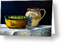 Still Life With Bowl And Pitcher Greeting Card by John OBrien