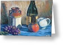 Still Life With Crock And Apple Greeting Card by Michael Camp