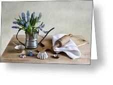 Still Life With Grape Hyacinths Greeting Card by Nailia Schwarz