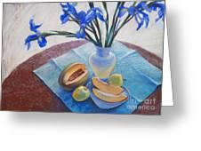 Still Life With Irises. Greeting Card by Ekaterina Gomol