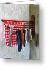 Stockings Hanging To Dry Greeting Card by Susan Savad