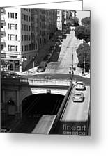 Stockton Street Tunnel Midday Late Summer In San Francisco . Black And White Photograph 7d7499 Greeting Card by Wingsdomain Art and Photography