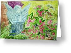 Stone Angel And Caladiums Greeting Card by Melanie Palmer