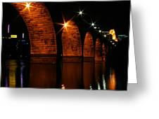 Stonearch Bridge - Minneapolis Greeting Card by Angie Schutt