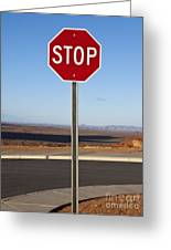 Stop Sign In The Desert Greeting Card by Paul Edmondson