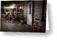 Storefront - Frenchtown Nj - At A Quaint Bistro  Greeting Card by Mike Savad