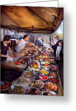 Storefront - The Open Air Tea And Spice Market  Greeting Card by Mike Savad