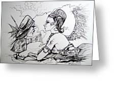 Strange Little Girl Greeting Card by Jackie Rock