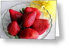 Strawberries And Yellow Mum Greeting Card by Barbara Griffin
