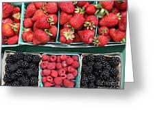 Strawberries Blackberries Rasberries - 5d17809 Greeting Card by Wingsdomain Art and Photography