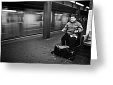 Street Musician In Subway Station In New York City Greeting Card by Ilker Goksen