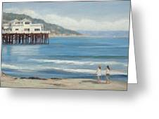 Strolling At The Malibu Pier Greeting Card by Tina Obrien