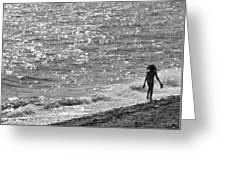 Strolling On Connecticut Beach Greeting Card by Cindy Lee Longhini