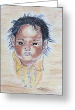 Study Of A Navajo Child  3 Greeting Card by Julie Coughlin