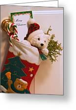 Stuffed Christmas Stocking Greeting Card by Carson Ganci