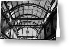 Subway Glass Station In Black And White Greeting Card by Rob Hans