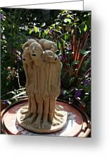 Suffering Circle Ceramic Sculpture Brown Clay Greeting Card by Rachel Hershkovitz