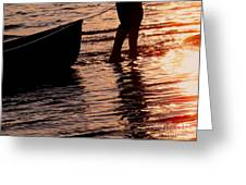 Summer Days - Canoeing At Sunset Greeting Card by Angie Rea