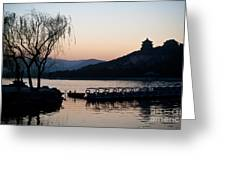 Summer Palace Evening Greeting Card by Mike Reid