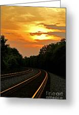 Sun Reflecting On Tracks Greeting Card by Benanne Stiens