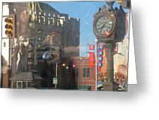 Sundance Square Reflection Greeting Card by Shawn Hughes