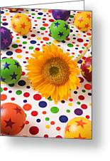 Sunflower And Colorful Balls Greeting Card by Garry Gay