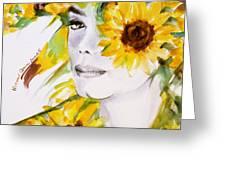 Sunflower Close-up Greeting Card by Hitomi Osanai