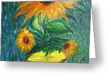 sunflower in a vase Greeting Card by PRASENJIT DHAR