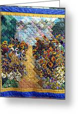 Sunflower Path Quilt Greeting Card by Sarah Hornsby