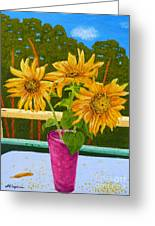 Sunflowers And Pines Greeting Card by Maria Malevannaya
