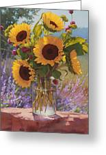 Sunflowers On The Rock Wall Greeting Card by Sarah Blumenschein
