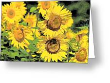 Sunny Sunflowers Greeting Card by Diana  Tyson
